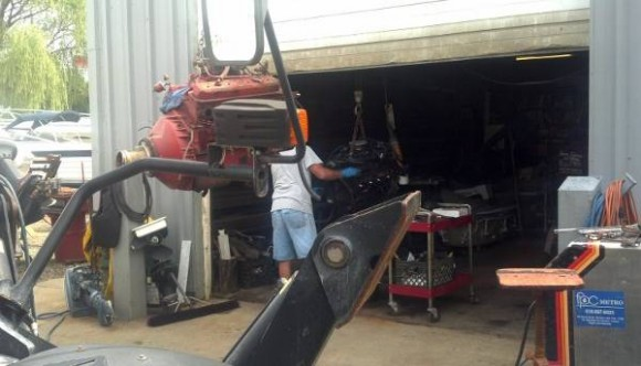 A boat being repowered